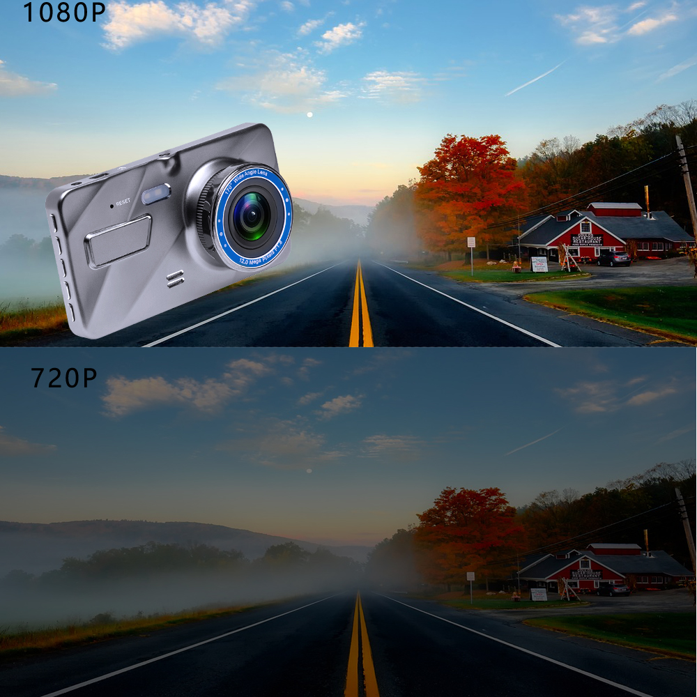 4Dash Cam New Dual Lens Car DVR Camera Full HD 1080P 4 IPS Front+Rear Mirror Night Vision Video Recorder Parking Monitor