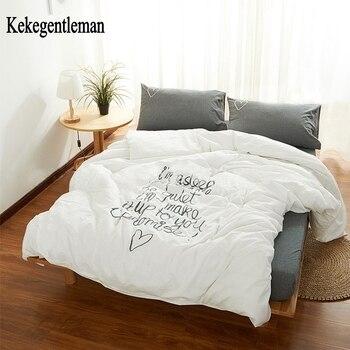 Goede Nacht Mr.100 % Gewassen Katoenen Beddengoed Set Retro Art Wit Grijs Beddengoed Set Dekbedovertrek + Laken + Kussensloop Kekegentleman