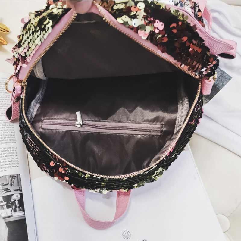 Русалка Блестки для девочек школьная сумка Женская Блестящая яркий рюкзак Крылья Ангела Mochila Escolar мини сумка рюкзак из искусственной кожи
