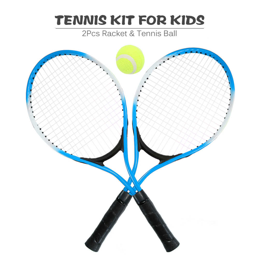 2Pcs Kids Outdoor Sports Tennis Rackets Tennis String Racquets with 1 Tennis Ball and Cover Bag Iron Alloy 3 Colors Optional