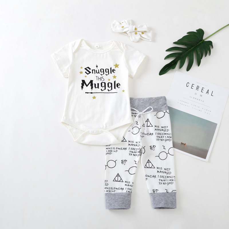 Summer Newborn Baby Girls Clothes 2018 New Arrival Snuggle This Muggle Tops+Pants 3pcs Outfit Infant Babe Boy Clothing set cute infant bbay girls plaid short pants clothes sets sleeveless tops scarf 3pcs outfit summer kids clothing set
