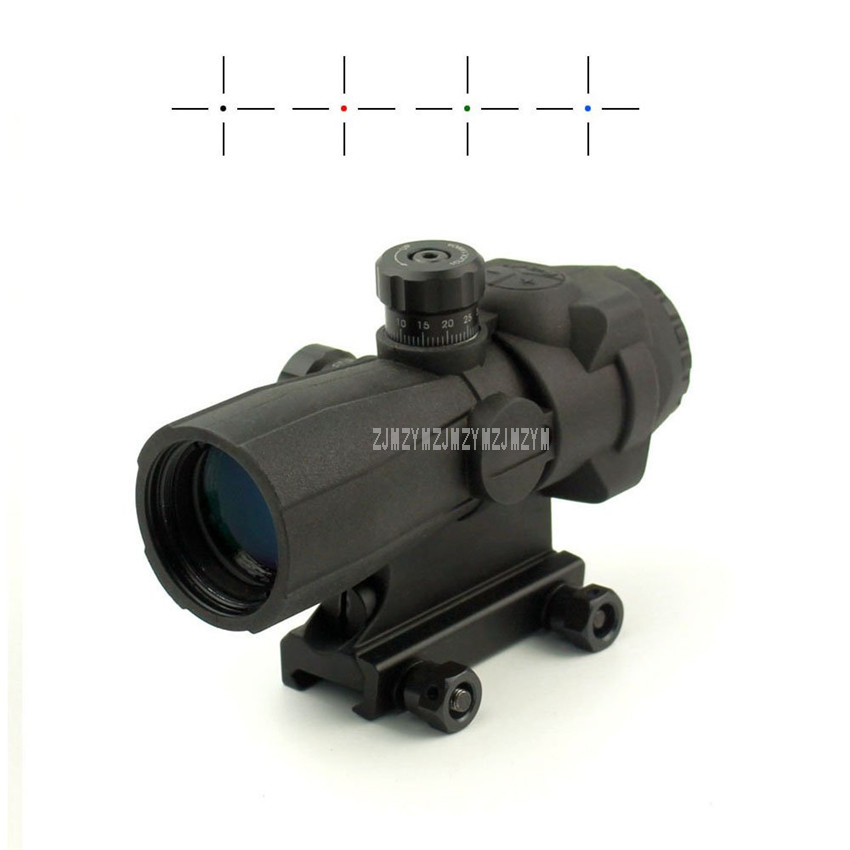 4X32 Riflescope Tactical Optical Rifle Scope Red Green And Blue Cross Mil Dot Sight Scope For Tactical Hunting Scope 141-4X32 joufou 4 16x40aol tactical rifle scope optical sights full size mil dot rgb llluminate wire reticle hunting riflescope for rifle