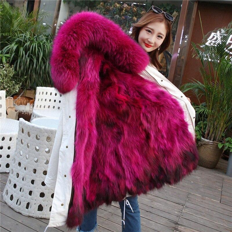 Черная парка с мехом 2018 Длинная зимняя куртка женская большой натуральный мех воротник натуральный мех енота Толстая теплая меховая подкла