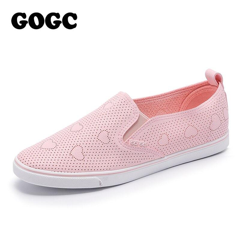 GOGC 2018 Slipony Frauen Schuhe mit Loch Atmungsaktive Frauen Flache Schuhe Frauen Turnschuhe Sommer Autunm Damen Leder Schuhe schuhe