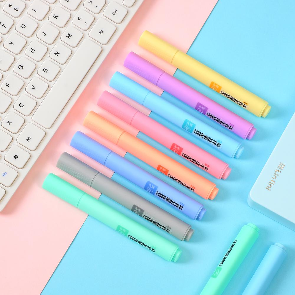 8pcs/set Macaron Series Highlighter Fluorescent Pen Color Highlighter Pen Marker Pen For Bullet Joural Kawaii Stationery
