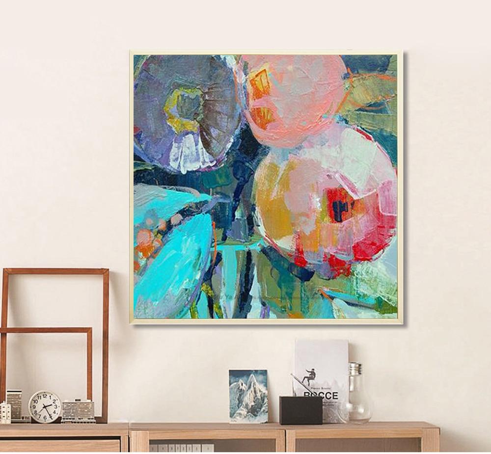 Grande E Moderna Pintura Oleo Flores Imagem Decorativa Da Arte Da  -> Arte Parede Sala