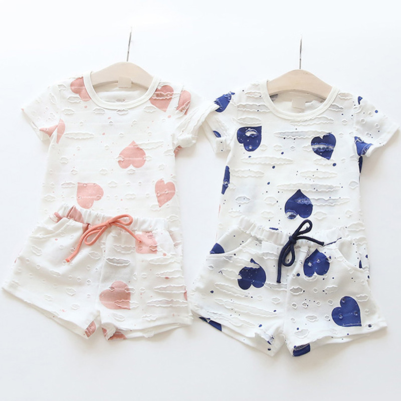 2pcs/sets,Casual Kids Clothing Baby Girls Clothes Sets Summer Heart Printed Girl Tops Shirts + Shorts Suits Children's Clothing 6