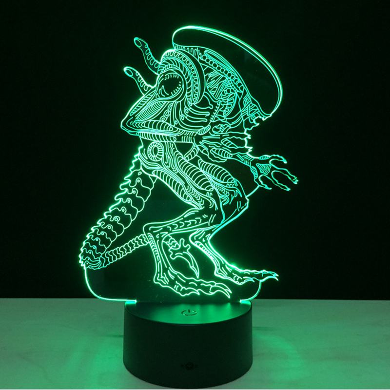 7 Color Change Alien Night Light Home Decor Bedroom 3D Acrylic LED Art Lamp Remote Control