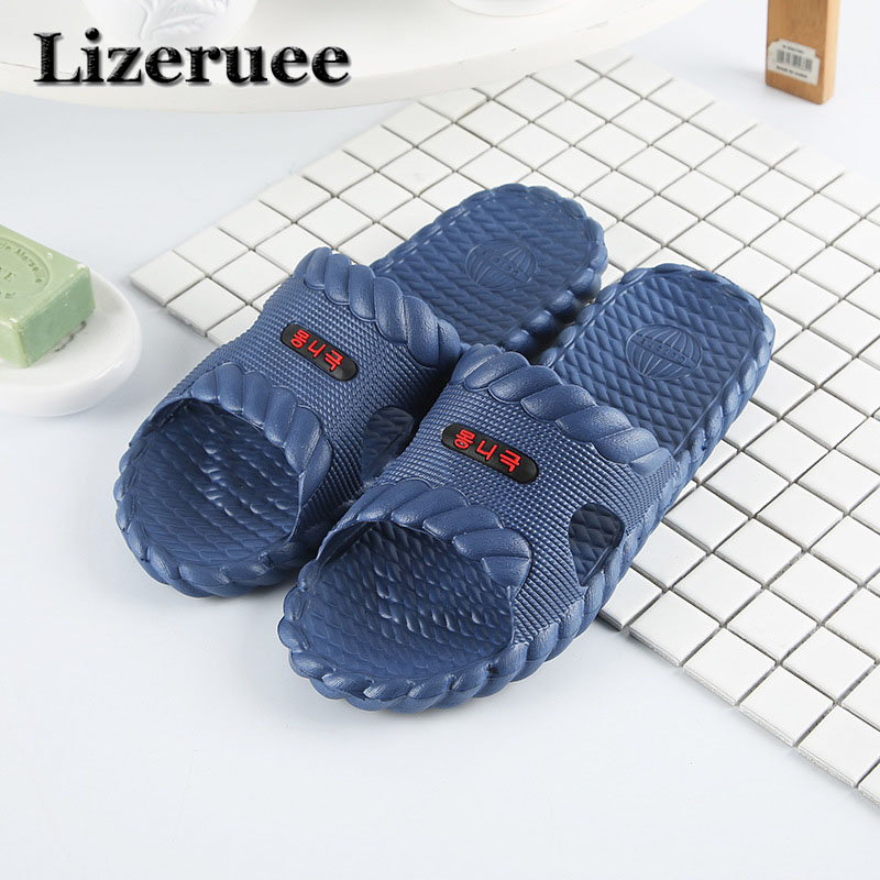 Hot Beach Shoes Casual Men Sandals Slippers Summer Outdoor Flip Flops Flats Non-slip Bathroom Home Massage Slippers Q90