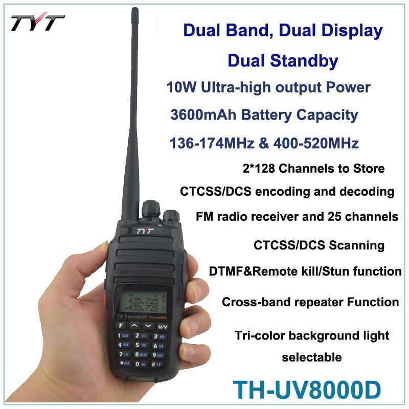 2015 NEW Radio TYT TH-UV8000D 136-174/400-520MHz 10W FM THUV8000D Transceiver Radio Handheld Radio Dual Band + FREE Earpiece