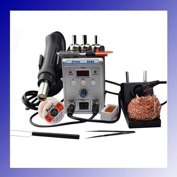 110 220V 700W 2 In 1 SMD Rework Station 8586 Hot Air Gun Solder Iron