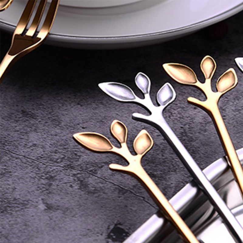 European Style Stainless Steel Fruit Forks Vintage Royal Branch Leaves Shape Handle Dessert Salad Cake Picks Tasting Appetizer in Forks from Home Garden