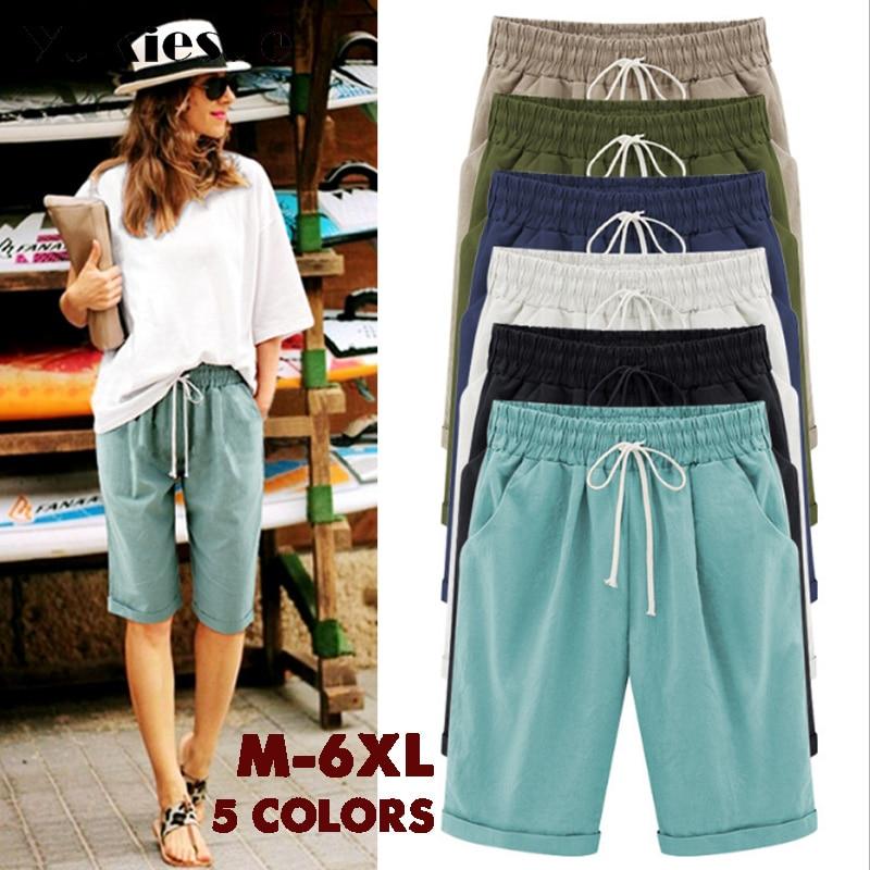 7452db57d94 2018 Summer Woman Cotton linen harem pants Plus size Lady Casual Short  Trousers candy Color Khaki
