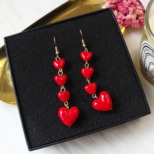 2018 Fashion Red Heart Long Earrings Korean Temperament Cute Sweet For Women/Girl Accessories Gift