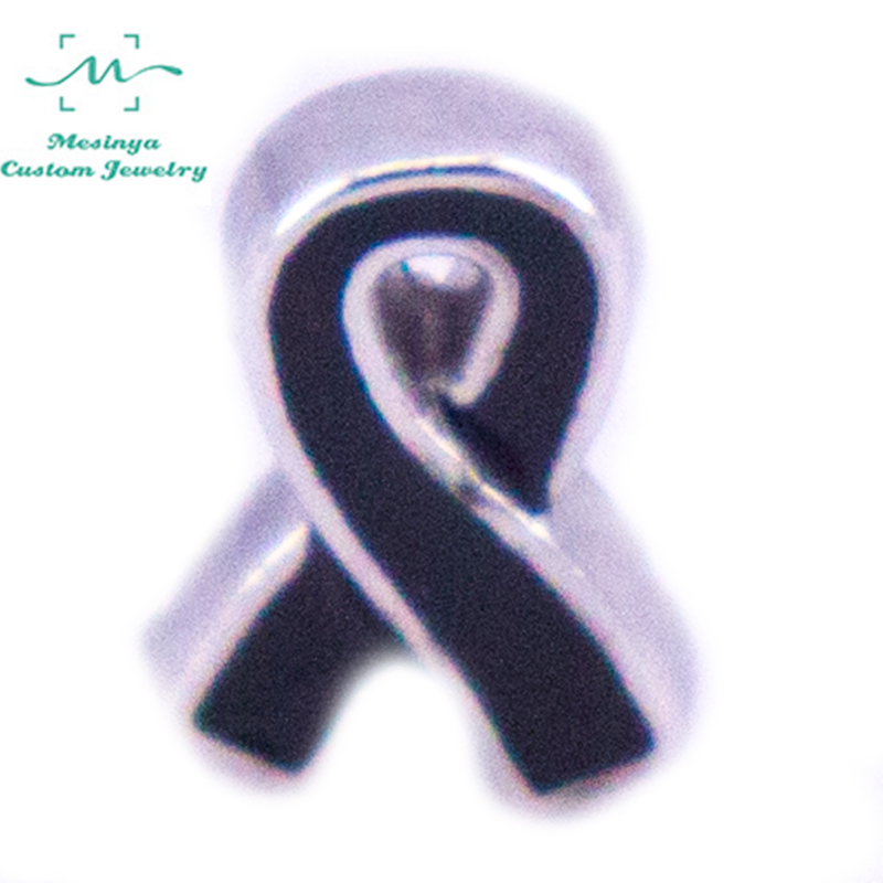 10pcs New Melanoma Awareness Ribbon Charm floating charms for glass locket FC--,Min amount $15 per order mixed items
