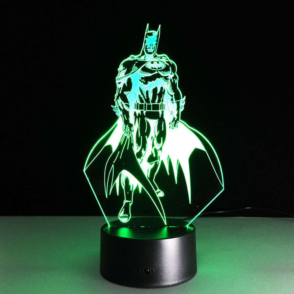 3D Illusion Lamp Lamp Batman Dark Knight 3D Illusion Night Light 7 Colors Changing Led Lamp Gifts Wg
