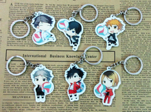 6pcs Haikyuu Characters Key Ring Pendants Sugawara Hinata Kageyama Kuroo Kenma Oikawa Haikyu Anime Players Cute