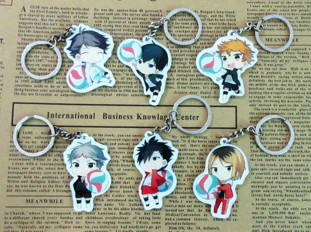 6pcs Haikyuu!! Characters Key Ring Pendants Sugawara Hinata Kageyama Kuroo  Kenma Oikawa Haikyu Anime Players Cute Toy Figures