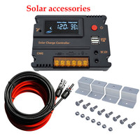 ECOworthy 10A/20A CMG solar controller & 5m black red cables & 4pcs Z btacket for home 100W Solar power panel system Accessories