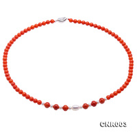 JYX Charming 5 5.5mm Red Round Coral Necklace with White Pearl Pendant Elegant Women Mother's Jewelry 19 Handmade Gift