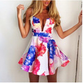 2017 summer new women's dress cross halter sexy minidress,print flower off the shoulder fashion casual dress free shipping C0436