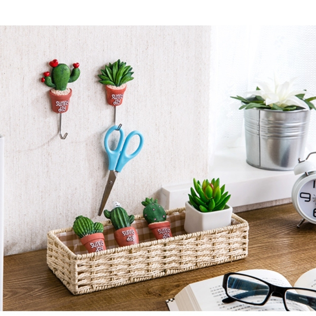 kitchen towel hooks decorative movable island artificial cactus potted key organizer wall hook for hanging home decoration bathroom resin adhesive