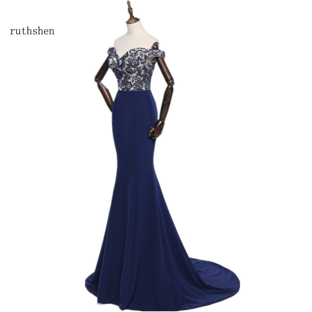 ruthshen Navy Blue Mermaid   Bridesmaid     Dresses   Cheap 2018 New Off Shoulder Lace Long Wedding Guest Formal Party   Dress