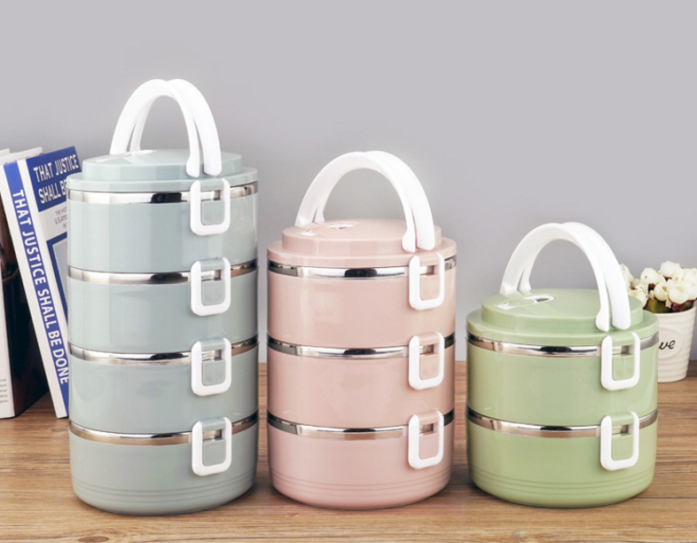 Portable Stainless Steel Bento Round Lunch Box in Lunch Boxes from Home Garden