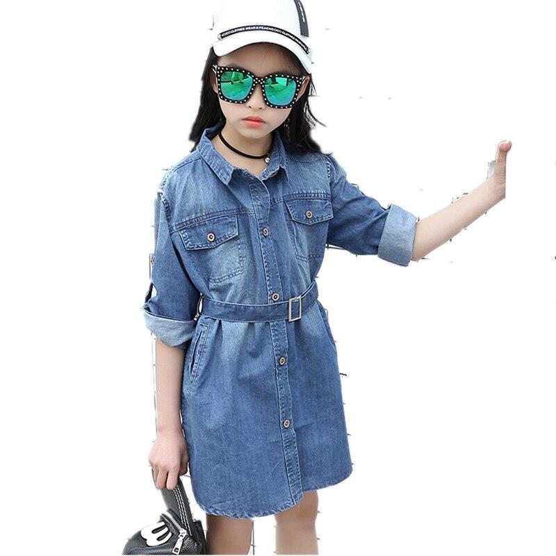 2017 New Girls Denim Shirts Blouses Fashion Trend Casual Solid Teen Cowboy Clothes Long Girls Kids Girl Denim Blouses