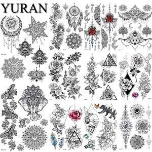 Женские водостойкие татуировки мандалы на запястье с цветком хны, черные, индийские Ловец снов, временная Роза для девушек