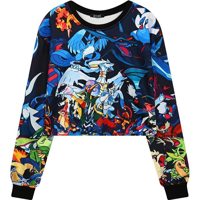 Women Crop Top 2017 Cropped Sweatshirt Cartoon Printed Pullover Girls Short Design Graphic Hip-Hop Hoodie Black Feminino Moleton