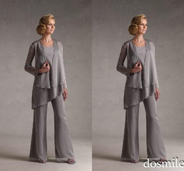2016 Modest cinza calças de roupas elegante mãe com jaqueta de mãe da noiva do noivo Plus Size 3 peças de vestidos de festa