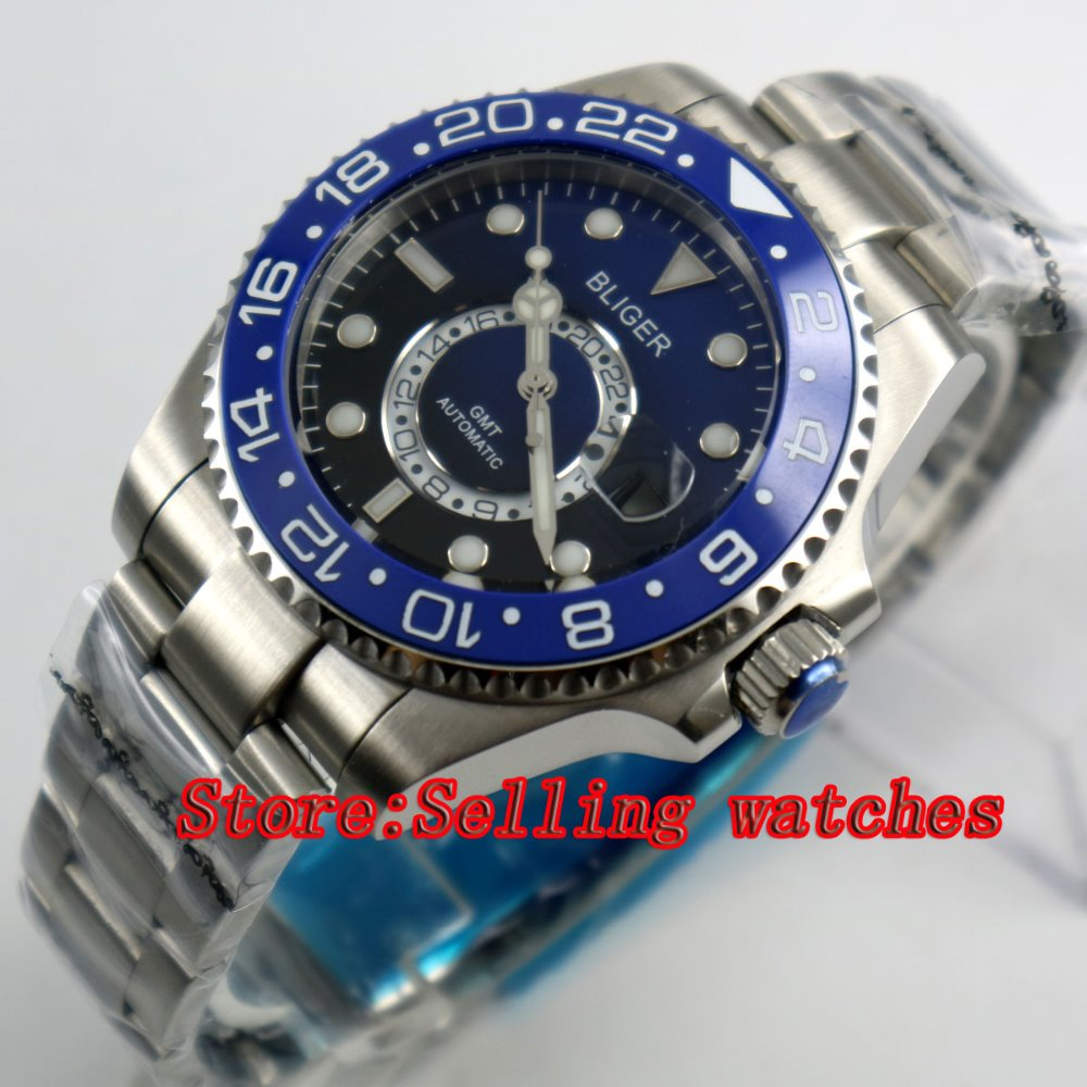 43mm Bliger Stainless Steel Case blue & black Dial Ceramic Bezel Luminous Mechanical Mens Wristwatch43mm Bliger Stainless Steel Case blue & black Dial Ceramic Bezel Luminous Mechanical Mens Wristwatch