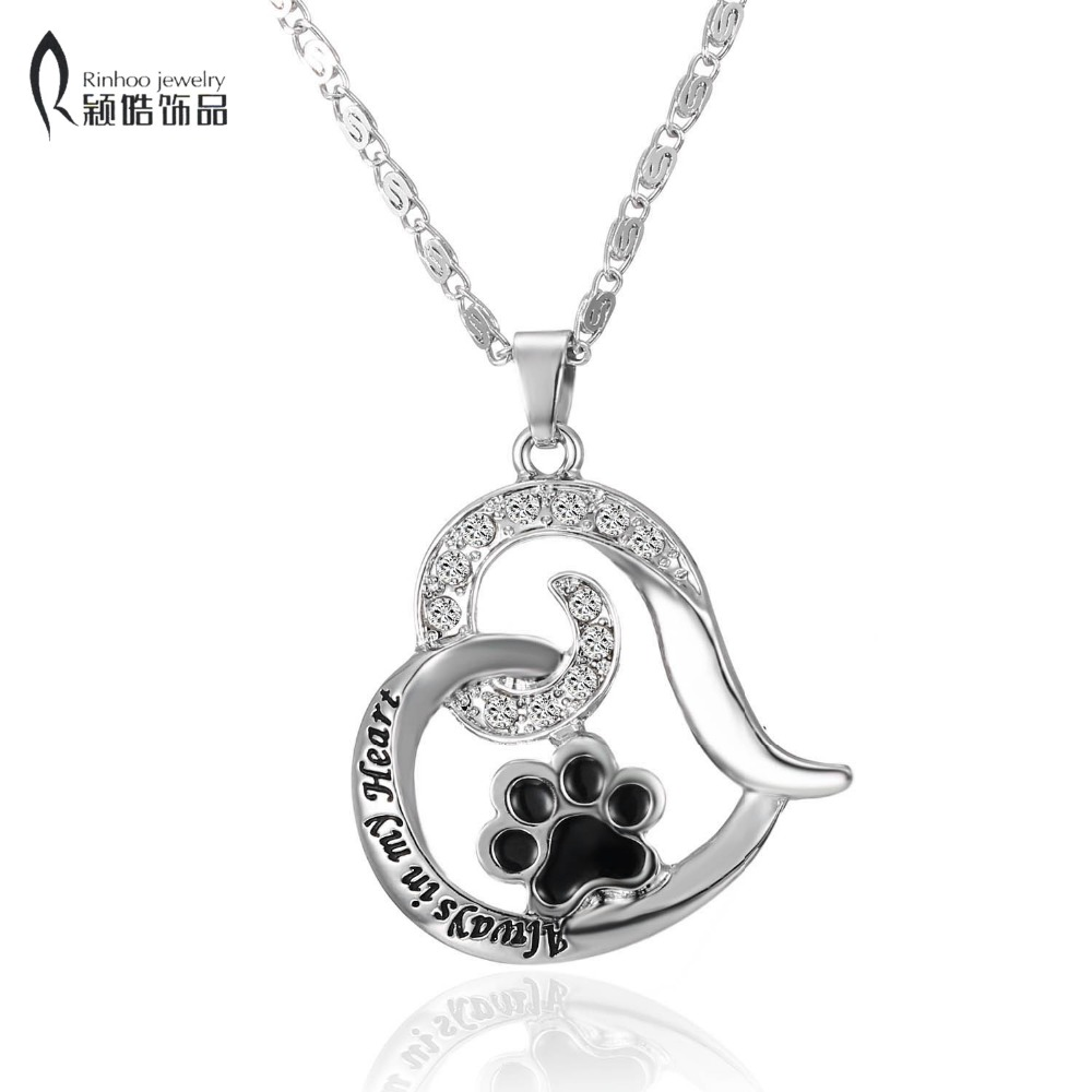 Pet Memorial jewerly cat always in my Heart dog lover Cat Foot paw print heart necklace Lover Pendant Animal Keepsake jewelry