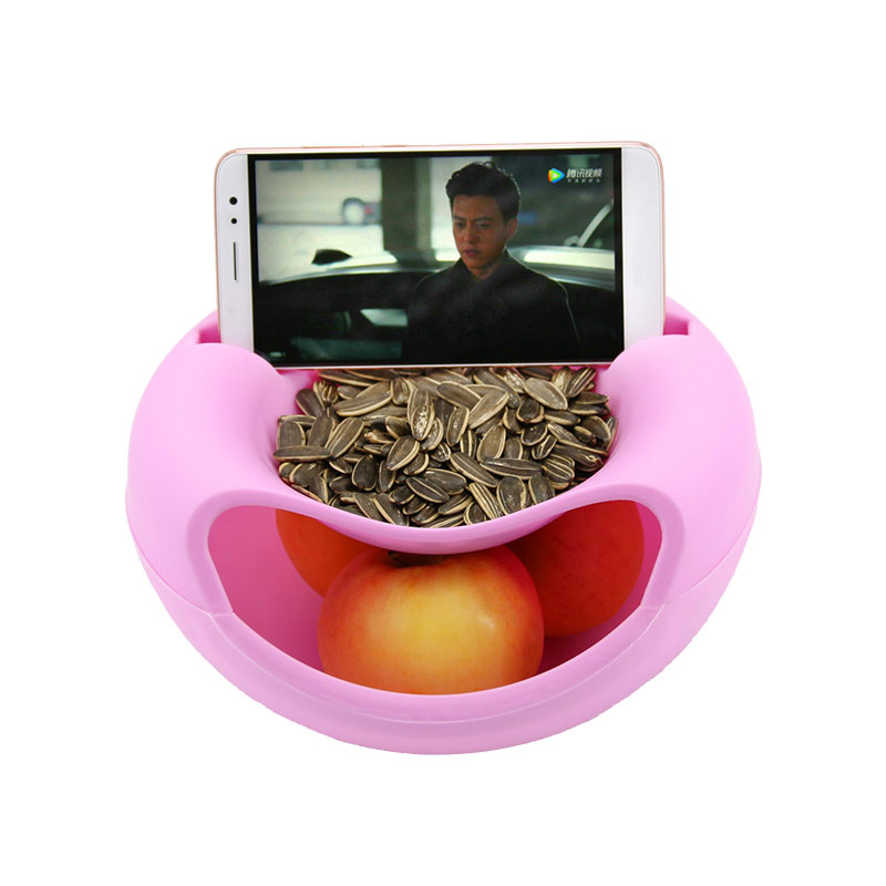 Multifunction Creative Small Double Layer Fruit Dish Snack Plates Storage Box Trash Can Phone Holder