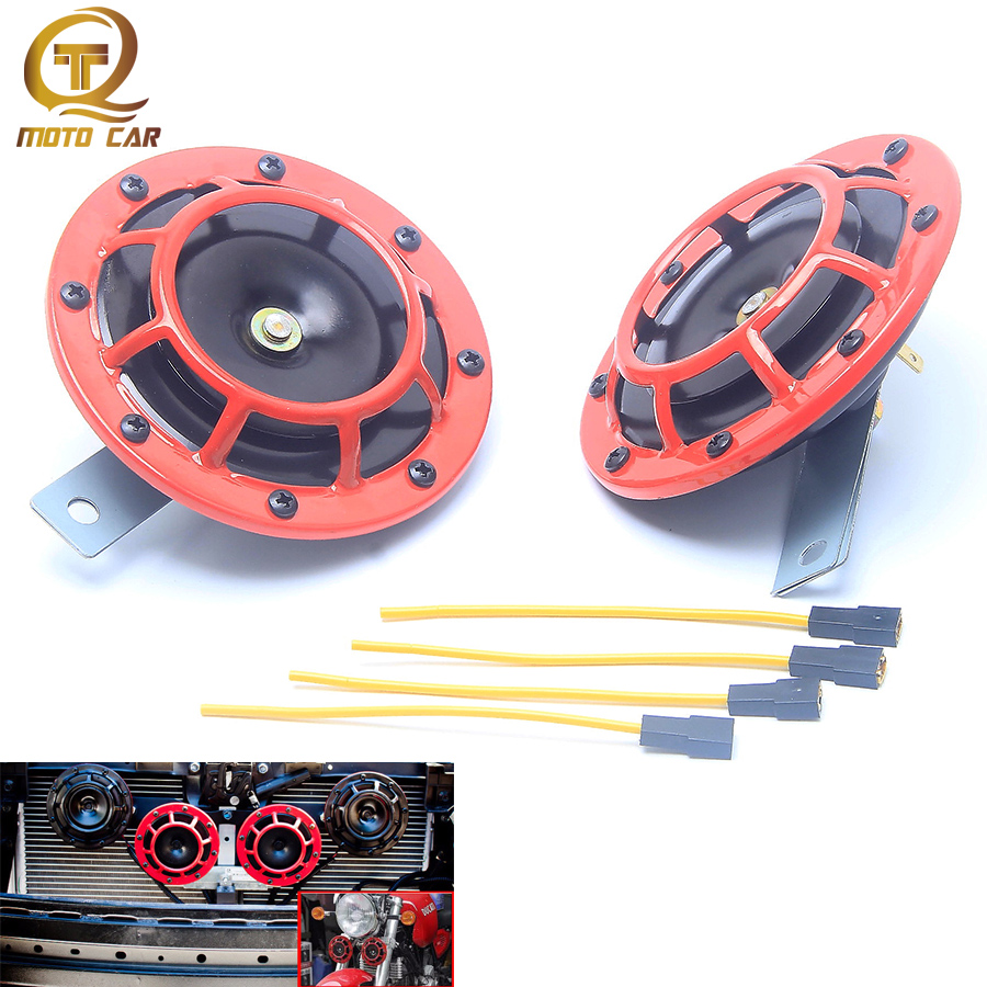 1 Pair Waterproof Electric Basin Horn 12V 400hz Grille Mount Compact Super Loud Red Horn Universal for Car Motorcycle Boat Race