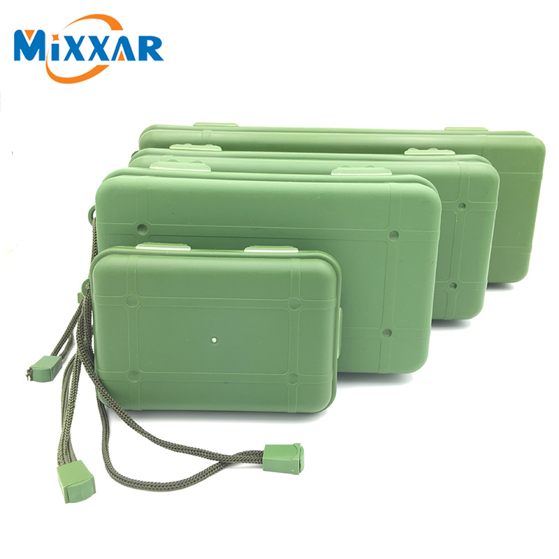 ZK10 Waterproof Anti Fall Green Plastic Storage Box For Flashlight Light Torch Lamp Battery Charger Case With 5 Size