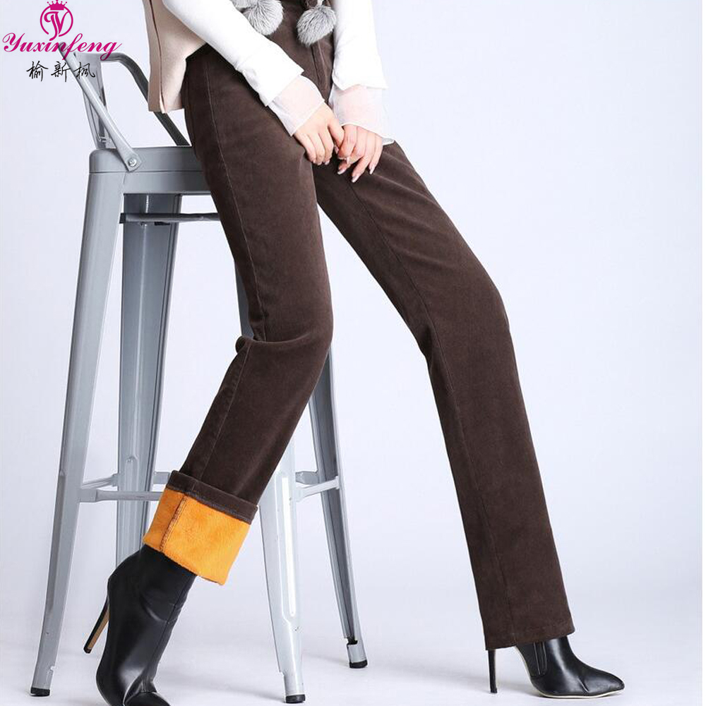 Yuxinfeng Women Corduroy Pants High Waist Autumn Winter Thick Casual Straight Cotton Warm Trousers Female Plus