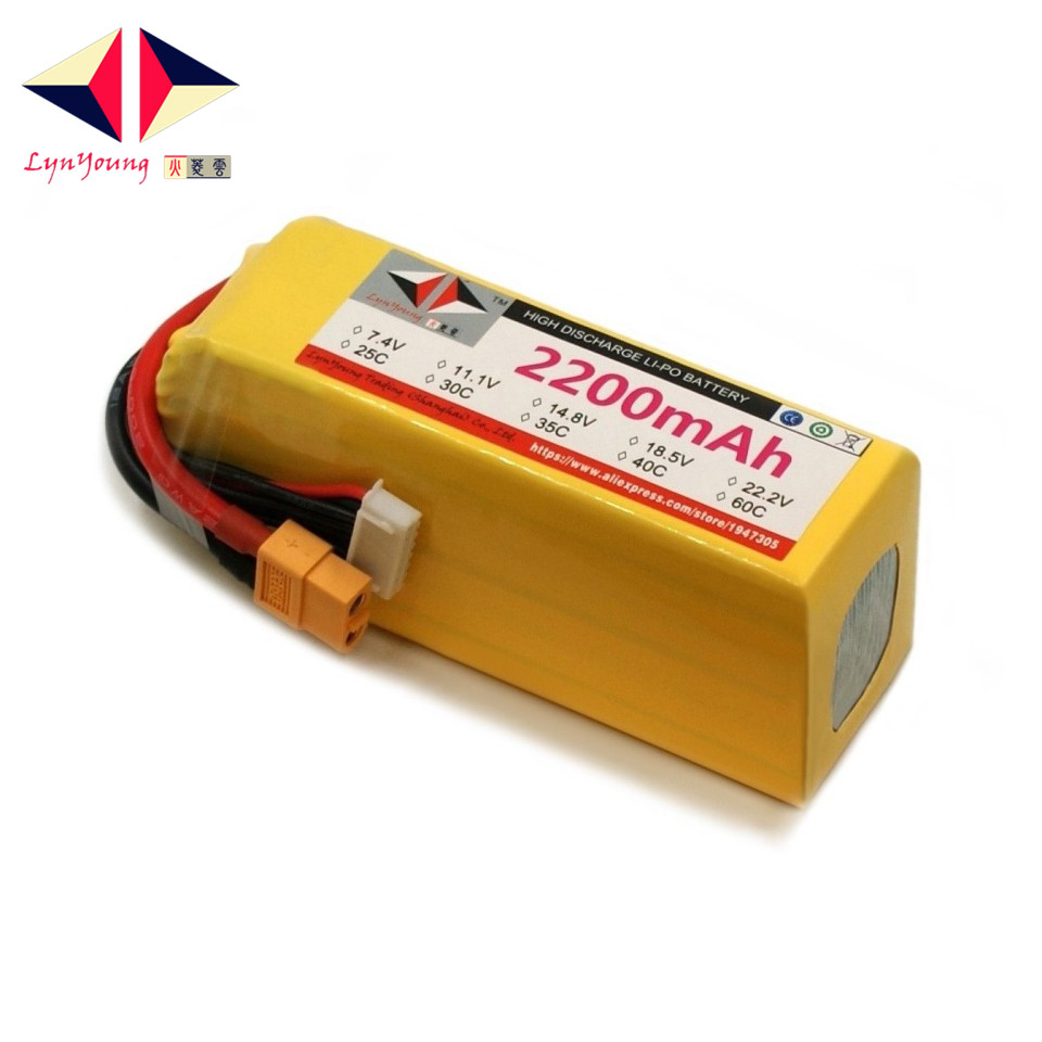 LYNYOUNG 6s lipo battery 22.2V 2200mah 30c Max 60C for RC Car Boat airplane Quadcopter helicopter 1s 2s 3s 4s 5s 6s 7s 8s lipo battery balance connector for rc model battery esc