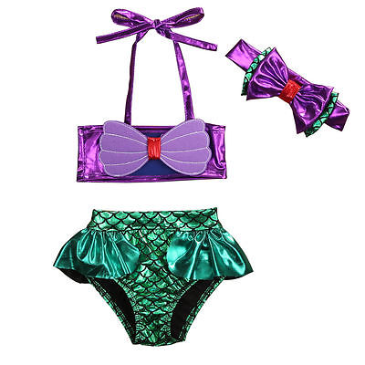 3Pcs Infant Kids Baby Girls Suit purple  bandage tops +bowknot headband +green fish scales Briefs Set 0-8Y 2017 hot selling