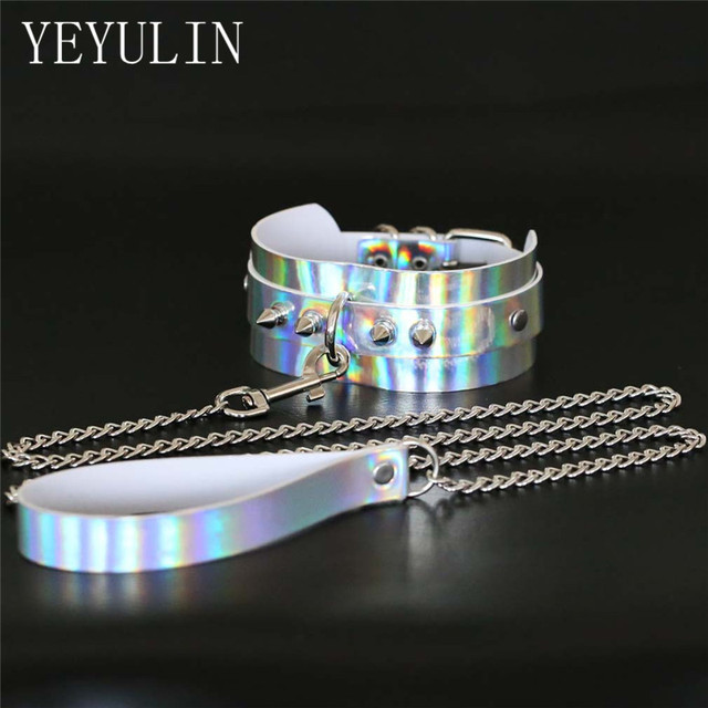 High Grade Metal Rivet Slave Holographic BDSM Laser Chocker Collar Gothic  Necklaces Jewelry For Woman Men