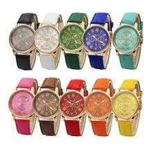 382748e03648 De moda de lujo de oro mujeres relojes pulsera de las mujeres de Ginebra números  romanos de cuero reloj de cuarzo analógico ASL