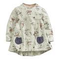 Little maven niñas vestido de otoño del o-cuello vestido del bebé impresión de la historieta completa vestidos de manga larga gris de manga larga vestidos para niñas