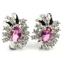 Gorgeous Pink Tourmaline, White CZ SheCrown Ladies Created Silver Stud Earrings 18x13mm