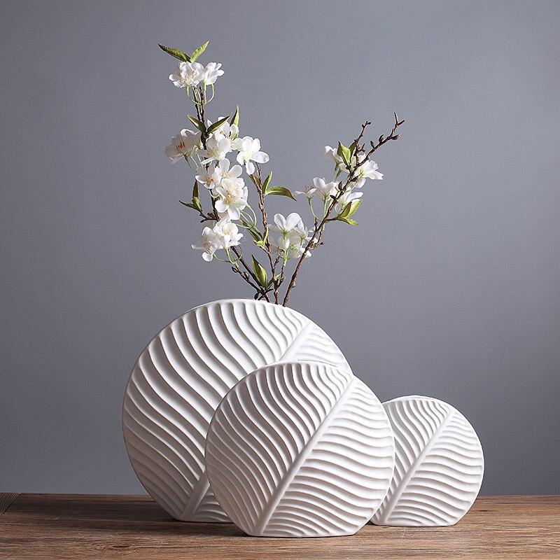 Vase en céramique mignon feuille conception échantillon salle solide blanc Vases à fleurs Pots de fleurs jardinières
