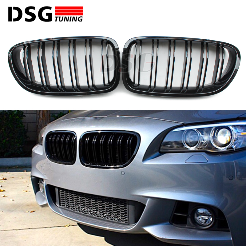 F10 Kidney Front Bumper Grill For BMW 5 Series F10 M5 F11 ABS 2 FIN Kidney Grill 2010 - Present 528i 535i 550i wljh 19x white canbus dome footwell trunk lighting bulb led car interior light kit for bmw f10 5 series 2010 550i 535i 528i m5