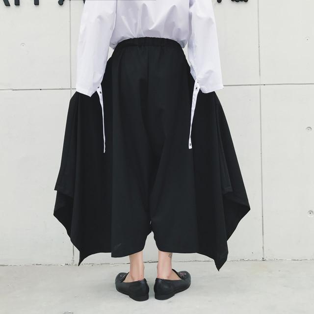 S-XXL!! Dark spring and autumn tide big size new alternative big skirt big bell pants nine points wide leg pants 2