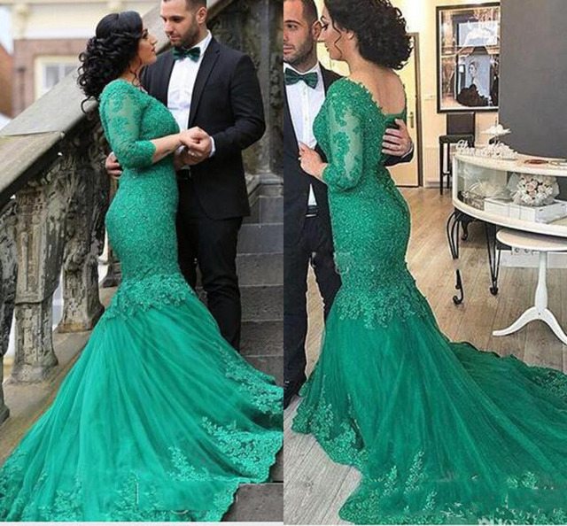 66e44281f0 New Green Arabic Lace Mermaid Prom Dresses 2017 V neck Vestidos De Fiesta  Long Sleeves Elegant Mother's Dresses with Sweep T-in Prom Dresses from ...