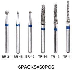 60 шт зубные Алмазные Боры сверла стоматология высокое Скорость ручной манипулятор Диаметр 1,6 мм стоматологические инструменты BR31 BR45 BR46 TR13