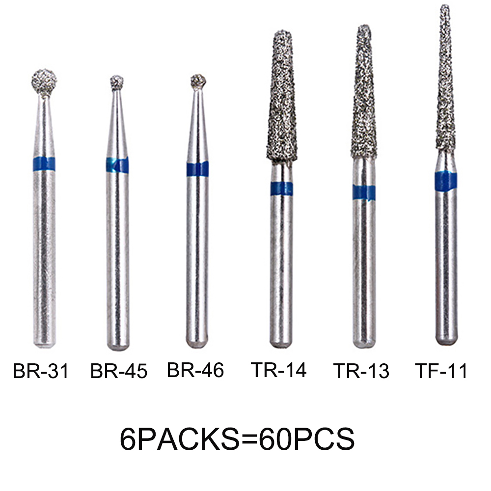 60pcs Dental Diamond Burs Drill Dentistry High Speed Handpiece Handle Diameter 1.6mm Dentist Tools BR31 BR45 BR46 TR13 TR14 TF11